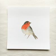 Watercolour robin giclée print