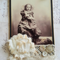 Mixed Media Antique Cabinet Card Small Picture Hanging