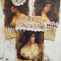 Vintage lace Mixed Media Gift Journal Tags x 3 Beautiful Ladies