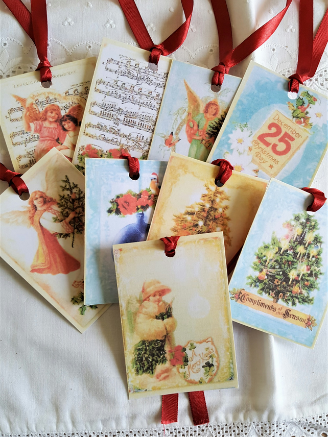 Victorian Style Gift Tags Christmas Tree Angels Journal Supplies