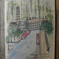 Hebden Bridge watercolour - A5 notebook, sketchbook, journal.  Plain Paper