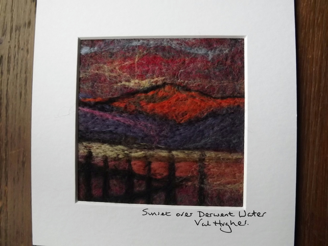 Needlefelted landscape painting of Derwentwater in the Lakes.Mounted for framing
