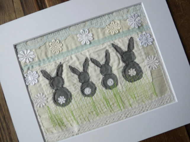 Bunny Textile Picture - Nursery gift, Easter Gift, Fabric Painting and Stitch