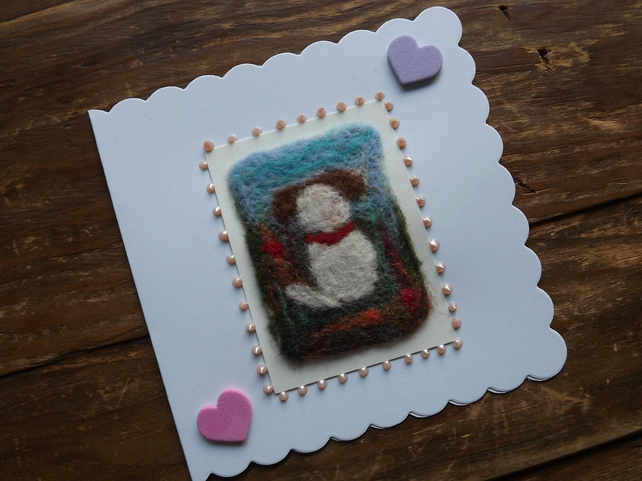 Dog Needle felted Greetings Card with scalloped edge