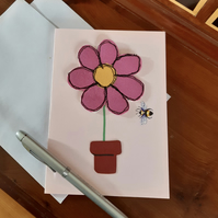 Pink Flower and Bee card
