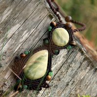 Boho necklace with green jasper