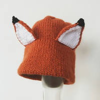 Knitted fox hat 6-12mths