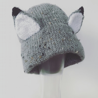 Knitted Wolf hat Newborn - 6months