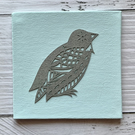 Mini Bird 'Albert' Original Hand Cut Papercut on Canvas - Grey