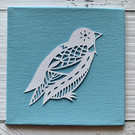 Mini Bird 'Albert' Original Hand Cut Papercut on Canvas - White