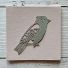 Mini Bird 'Clarence' Original Hand Cut Papercut on Canvas - Grey