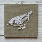 Mini Bird 'Norris' Original Hand Cut Papercut on Canvas - White