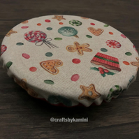 Christmas reuseable cover for bowls, mugs, glasses (P&P included)