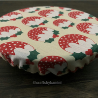 Christmas pudding reuseable cover for bowls, mugs, glasses (P&P included)