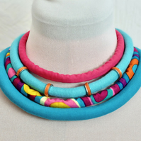 Bright Fabric Rope Statement Choker Necklace