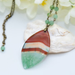 Sea Green & Brown Agate Pendant Necklace