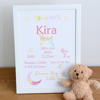 Personalised New Baby Gift, Baby Name Wall Art, Christening Gift, A4 Print