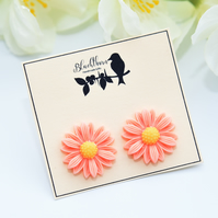 Bright & Bold Peach Daisy Earrings