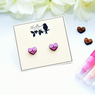 Hand Painted Wooden Heart Earrings