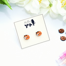 Hand Painted Wooden Fox Earrings
