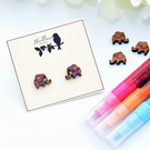 Hand Painted Wooden Elephant Earrings