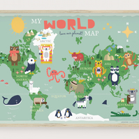 Children's Map of the World with Animals, World Map Poster, Kids Animal Map
