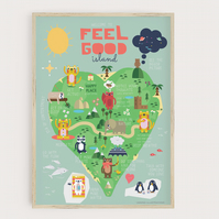 Feel Good Island - Positive Map For Kids, with Animals, tips on how to feel good