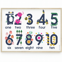 Learn Numbers 1-10 Poster, Fun, Colourful and Educational. Nursery Wall Art