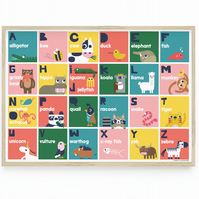 Animal Alphabet Poster, Fun, Colourful and Educational! Alphabet Animal Poster