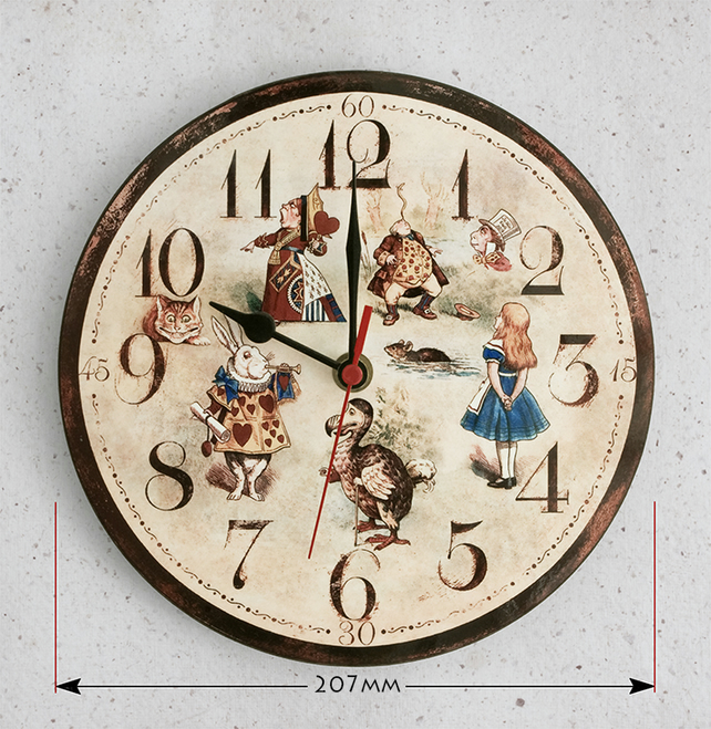 Wall Clock - Alice in Wonderland characters