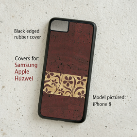 iPhone or Samsung Galaxy case - Cork leather - Terracotta Floral - Eco-friendly