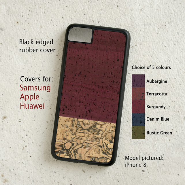 iPhone or Samsung Galaxy case - Cork leather duotone