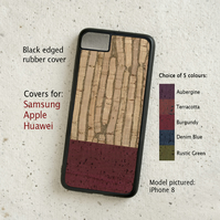 iPhone or Samsung Galaxy case - Cork leather duotone striped