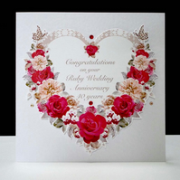 Antique Red Rose Ruby Anniversary Card