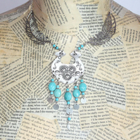 Turquoise and Silver Feather Charm Statement Necklace