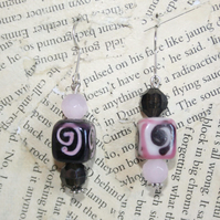Asymmetric Black and Pink Ceramic Bead with Swirl Hook Dangle Earrings
