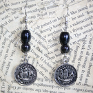 Half Penny Coin Charm Silver Tone Double Sided Earrings