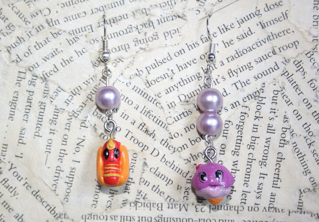 Hot Dog Charm Ice Cream Charm Mismatched Earrings