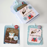 Seasons Greetings Merry and Bright Christmas Gift Tags with Pocket Set of 4 S. 1