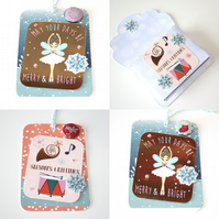Seasons Greetings Merry and Bright Christmas Gift Tags Set of 4 Set 2