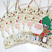 Santa Rudolph Christmas Tree Gift Tag Set