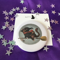 Cat Witch Pocket Mirror
