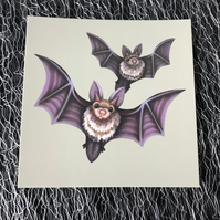 Bats Square Post Card