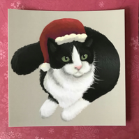 Christmas Cat Square Post Card