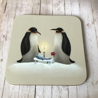 Penguins Square Coaster