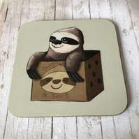 Sloth in a Box Square Coaster