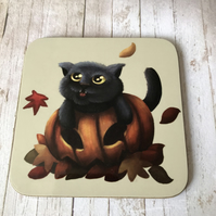 Pumpkin Cat Square Coaster