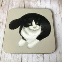 B&W Cat Square Coaster