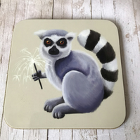 Lemur with Sparkler Coaster