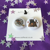 2 Halloween Cat Mini Magnets